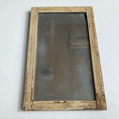 VTG Antique Primitive Barn Mirror Weathered Glass Handmade Oxidized Wood Frame
