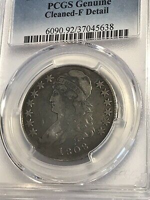Choice FINE 1808 Silver CAPPED BUST Half Dollar. PCGS Cleaned Very Fine Coin