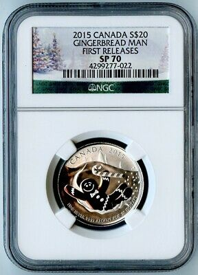 2015 Canada Ngc First Releases Sp70 Silver Gingerbread Man S$20!