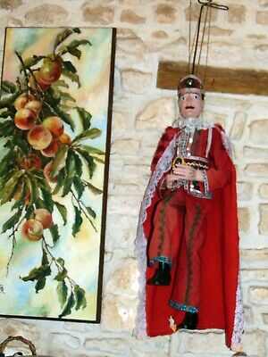"""antique all wooden  wood  carved  LRG marionette/ doll  figure 30 """" & 43"""" w.rod"""