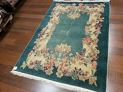 4x6 CHINESE RUG VINTAGE ART DECO NICHOLS AUTHENTIC HAND-MADE ORIENTAL RUG 1960s
