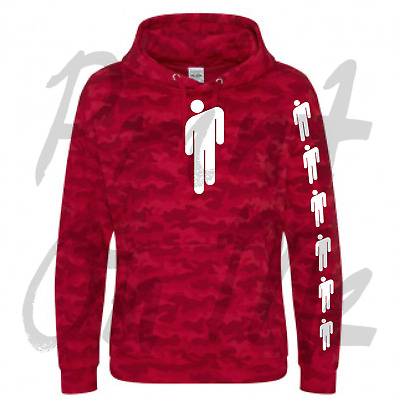Billie Eilish Camo Red Hoodie With White Billie Eilish Logo Great Quailty