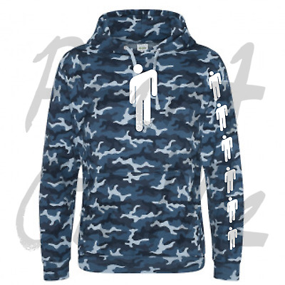 Billie Eilish Camo Blue Hoodie With White Billie Eilish Logo Great Quailty