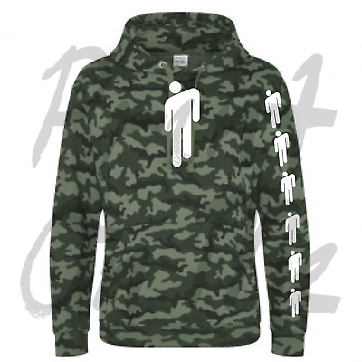 Billie Eilish Camo Green Hoodie With White Billie Eilish Logo Great Quailty