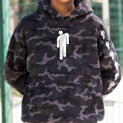 Billie Eilish Camo Black Hoodie With White Billie Eilish Logo Great Quailty
