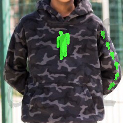 Billie Eilish Camo Black Hoodie With Green Billie Eilish Logo Great Quailty
