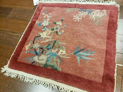 2x2 CHINESE RUG VINTAGE ART DECO NICHOLS AUTHENTIC HAND-MADE ORIENTAL RUG 1960s