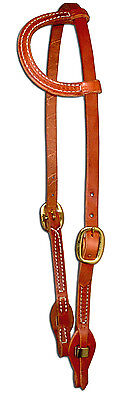 Harness leather sliding one ear bridle headstall quick change  cowboy USA H154