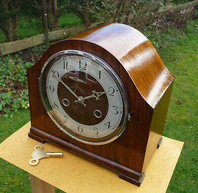 Vintage restored 1940s  Anvil,  Perivale Movement  mantle clock with brass key.