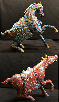 Pr. Antique Chinese Horses Enamel Cloisonne On Bronze C.1915-20's W/Orig. Patina