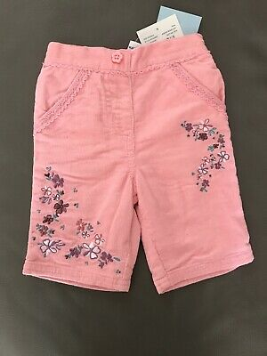 BNWT TU Baby Girls Pink Trousers With Floral Stitching, Newborn Up To 9.9lbs