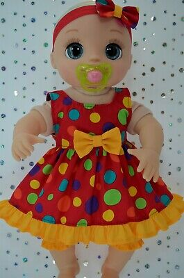 """Dolls Clothes For 17"""" Baby Alive Real As Can Be SPOT DRESS~BLOOMERS~HEADBAND"""