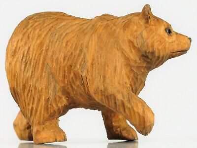 Vintage Beautiful Folk Art Hand Carved Small Brown Or Grizzly Bear Fine Details