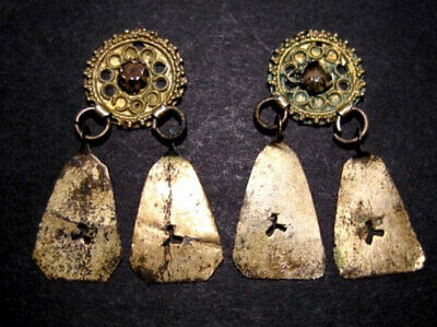 Pair Of Two Late Byzantine Silver Gilt Mounts Decoration Appliques +++