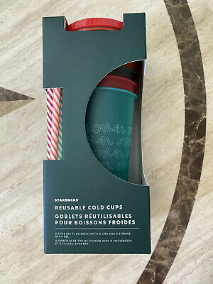 New Starbucks Holiday Reusable Cold Cups & Straws Package Of 5 Christmas 2019