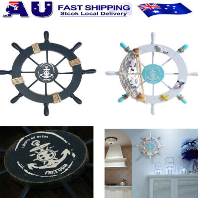 Nautical Wooden Boat Ship Steering Wheel Sea Outdoor Party Wall Home Decoration