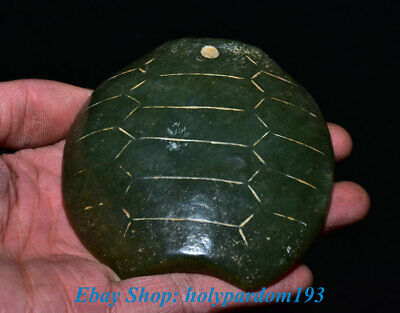 """3"""" China Hongshan Culture Hetian Green Jade Carving Dynasty Turtle Shell Amulet"""