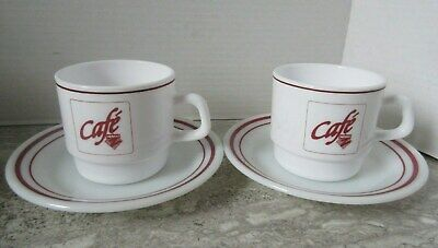 2 Old Vintage Zellers Cafe Club Z Milk Glass Coffee Cup & Saucer Arcopal France