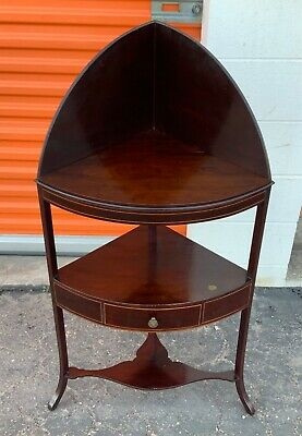 19th century English corner one drawer stand/ wash stand