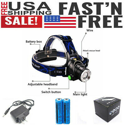 Rechargeable 18650 Headlight US 900000Lumen T6 LED Zoom Headlamp W/ Gift Box