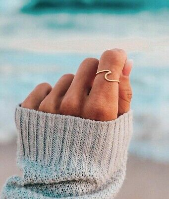 Pura Vida Women's Sterling Silver Wave Ring (Silver or Gold), Sizes 6-10 NEW
