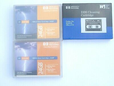 2 x HP DDS-3 24 GB Data Cartridges C5708A + 1 x HP DSS Cleaning Cartridge