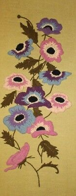 Vtg Paragon Flowers Purple Pink Blue Crewel Embroidery Completed Finished