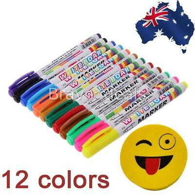 12 Colors Whiteboard Markers White Board Erasable Marker Pens Eraser Rubber AU