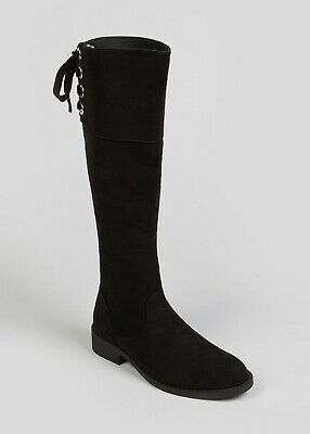 Girls Black Faux Suede Long Knee High Boots  - Size UK 3 - BNWT