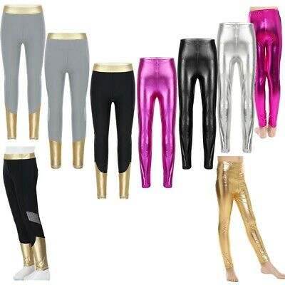 Kid Girls Metallic Leggings Trousers Shiny Party Dance Disco School Modern Pants