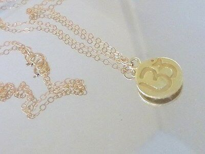 Authentic Solid  twenty Inch 14K Gold Chain with 14 kt OM Pendant