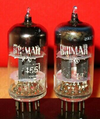 2 x 12AT7 / CV455 BRIMAR Tubes .. Black Wing Plate HALO getter .. AVO Tested