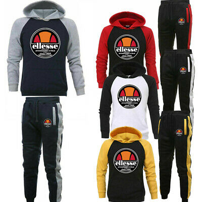 Herren Trainingsanzug Set Trackies Sportanzug Patchwork Sweatshirt Hoodies Hosen
