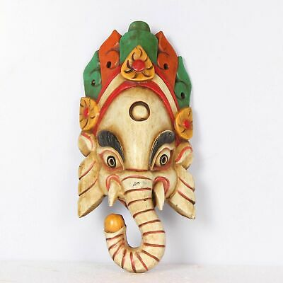 Vintage Wooden Miniature Hand Carved Painting Work Lord Ganesha Wall Hangin Mask