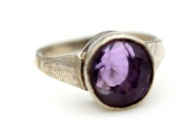 Antique Sterling Silver 4.270 Grams Oval Natural Amethyst Stone Old Ring