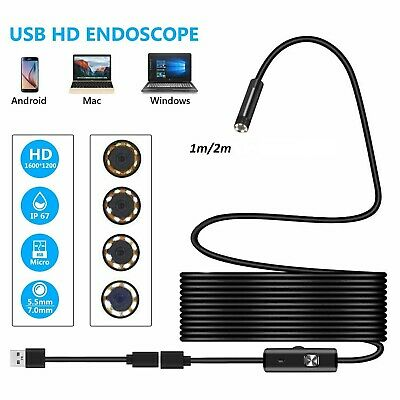 7mm USB Endoscope Borescope Inspection Tube HD Camera For Android Mobile PC Mac