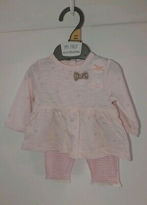 Mothercare Pink Top With Bows And Striped Leggings Set For Newborn New Baby Girl