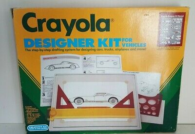 Crayola Designer Kit For Vehicles Vintage 1989 Creativity Drawing Drafting Kit
