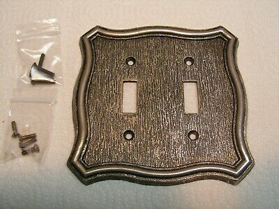 Vintage American Tack & Hardware Brass Plated Double Toggle Plate Cover W/Screws