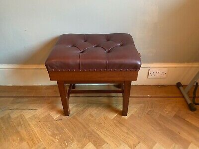 Height Adjustable Leather Antique Piano Stool
