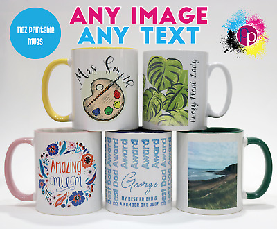 Personalised Custom Text and Photo Colour Rim Mug Tea Coffee Cup Printed Gifts
