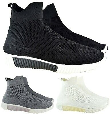 Ladies Womens Sock Fitted Ankle High Stretch Knit Bali Sneakers Runner Trainers