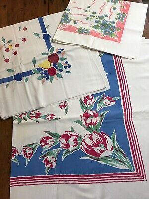 Lot 3 Vintage Tablecloths Fruit Flowers Red Blue Green Pink, Misc Sizes Few Flaw