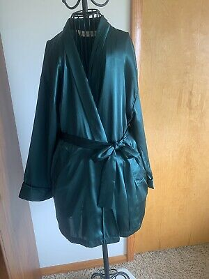 Victorias Secret VS One Size OS Sleep Robe Satin Green Kimono VTG