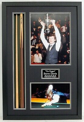 Steve DAVIS SIGNED & Framed Snooker Cue Display 6 x World Champion AFTAL COA