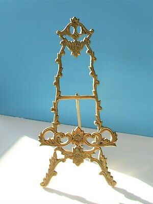 > LARGE Tall ANTIQUE Solid BRASS Display Nouveau Design EASEL for Art or PHOTOS