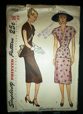 Simplicity Sewing Pattern 8447 H5 1940/'s Overall//Trs//Blouse  US Size 6-14