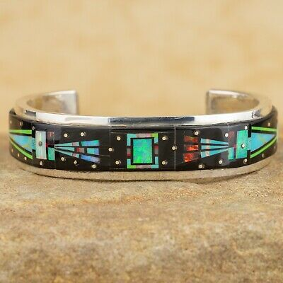 Native American Inlay Fire Opal Bear Fetish Bracelet 925 Cuff Sign DSterling B14