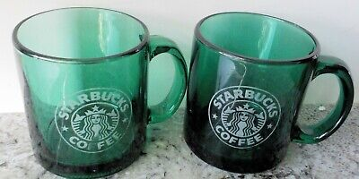 Set of 2 Starbucks Clear Green Glass 12oz Coffee Mugs with Etched Siren Logo USA