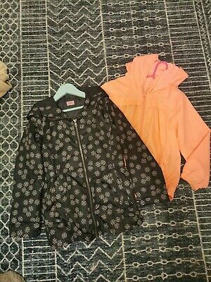 Girls Parka Rain Coat Age 6-7 Years. Bundle of 2.waterproof. orange. flowers
